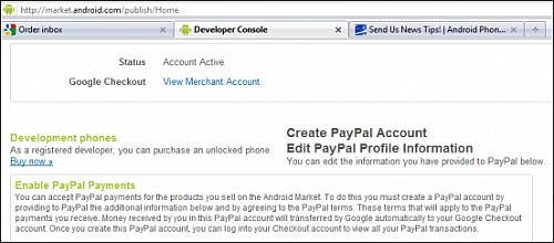 Android Market Checkout Bezahloption PayPal