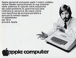 Italienische Werbung für Apple-Computer mit Steve Jobs, ca. 1979 / 1980