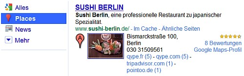 Google Place Search Sushi Berlin