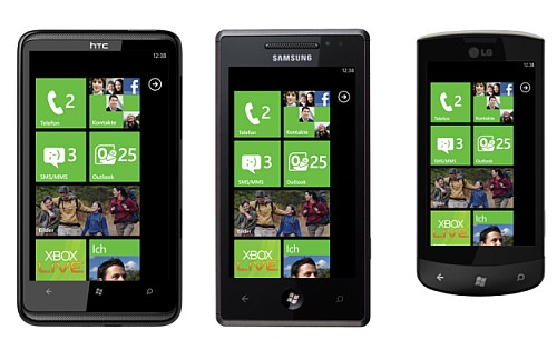 Smartphones mit Windows Phone 7 ((HTC HD7, Samsung Omnia 7, LG Optimus 7)