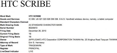 HTC Scribe Markenanmeldung