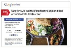 Google offers Indian Restaurant