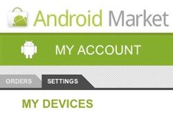 Android Market Einstellungen Geräte