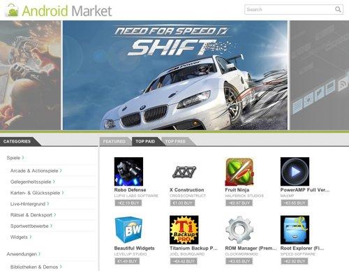 Android Market als Webstore