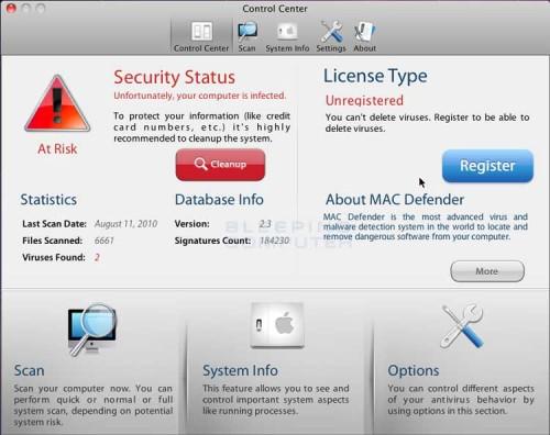 Mac Defender Malware für Mac OS X
